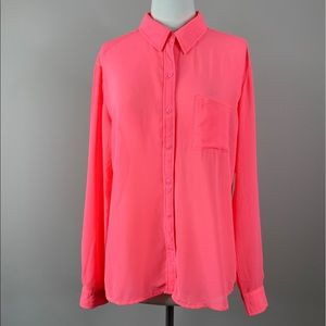 Kut from the Kloth Bright Pink Sheer Blouse